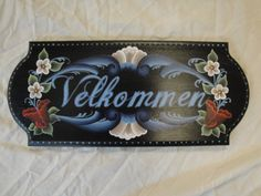 Norwegian Rosemaling Welcome Sign