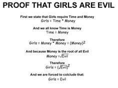 Girls are evil. Equation