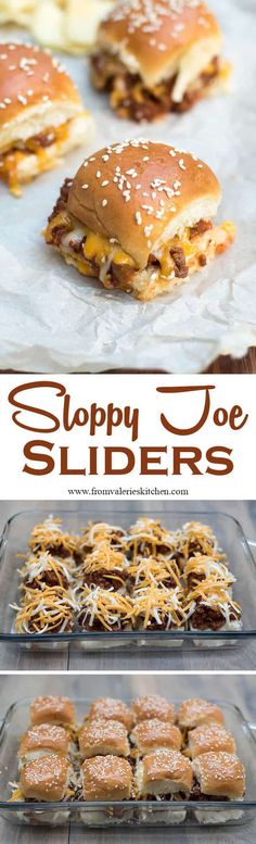 Toasted buns filled with a super flavorful Sloppy Joe mixture and melted cheese…. Toasted buns filled with a super flavorful Sloppy Joe mixture and melted cheese. These fun Sloppy Joe Sliders have game day party written all over them! Beef Recipes, Cooking Recipes, Recipies, Slider Sandwiches, Mini Sliders, Slider Recipes, Snacks Für Party, Football Food, Game Day Food