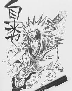 Jiraiya the pervy sage from Naruto - Anime drawing - Ink Naruto Sketch Drawing, Naruto Drawings, Manga Drawing, Manga Art, Anime Art, Tatoo Naruto, Naruto Art, Anime Expo, Otaku Anime