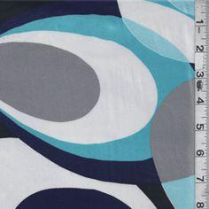 Navy/Grey Print Charmeuse - Discount Fabrics