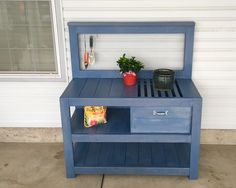 Free and easy DIY plans that show you exactly how to build a potting bench with a grated top. No woodworking experience required.