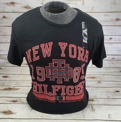 TOMMY HILFIGER DENIM T-Shirt Graphic Heathered New York Tee Shirt Blue Black M L #TommyHilfiger #GraphicTee
