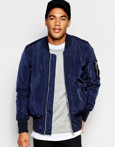 ASOS Bomber Jacket With MA1 Pocket In Navy $65