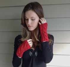 Red Knit Cable Fingerless Gloves Mittens (Vegan Yarn)