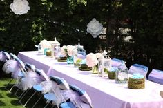 Party table from Shabby Chic Alice in Wonderland Baby Shower at Kara's Party Ideas. See the whole party at karaspartyideas.com!