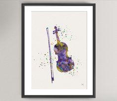 VIOLIN Watercolor Art Print  Music Instrument Ink by oinkartprints, €11.00