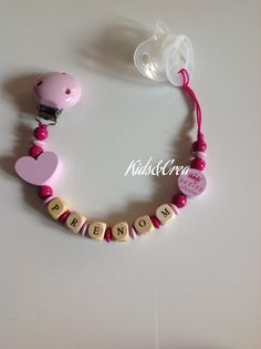 Chaîne de tétine avec nom tétine bébé fille Pink PETITE SOEUR