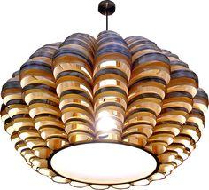 Grote glow hanglamp in 2 houtsoorten, esdoorn en zebrano hout gecombineerd