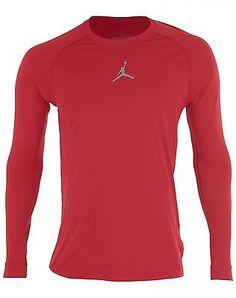 Nike Jordan All Season Mens 642406-687 Red Long Sleeve Training Shirt Size XL