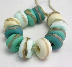 Handmade Lampwork Glass etched rolo beads  Organic by mermaidglass, \