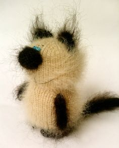 Kitten Siamese - Knitted Miniature Amigurumi Pet Animals - Fluffy Cute Kitten Kitty  Cat