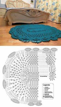 25 Ideas For Crochet Mandala Rug Pattern Diy Crochet Rug, Crochet Doily Diagram, Diy Crafts Crochet, Crochet Rug Patterns, Crochet Carpet, Crochet Home Decor, Love Crochet, Crochet Doilies, Knitted Rug