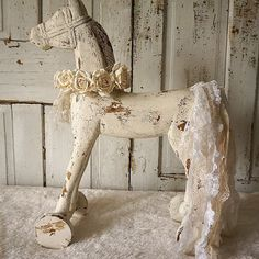 Wooden horse carved statue display French by AnitaSperoDesign