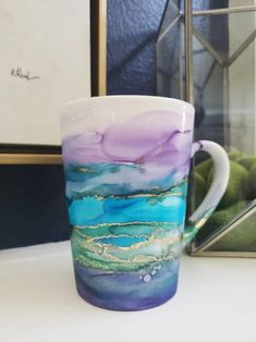 Mermaid Cup, Mermaid Gifts, Painted Mugs, Hand Painted, Diy Mug Designs, Goddess Of The Sea, Diy Mugs, Handmade Stamps, Perfect Cup