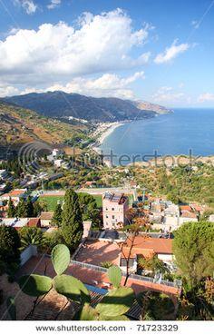 Beautiful coast of Sicily with town Taormina