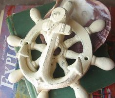 Cast Iron Anchor and Ship Wheel Door Knocker for Decoration
