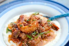 Smothered Shrimp, Andouille Sausage, and Grits. Already made this, it's fantastic!