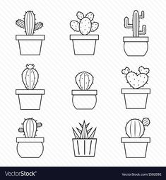 Cactus clipart EPS vector drawings available to search from thousands of royalty free illustration providers. Cactus Outline, Illustrator Ai, Cactus Vector, Cactus Drawing, String Art Templates, Bordados E Cia, Ecole Art, Small Canvas, Embroidery Art