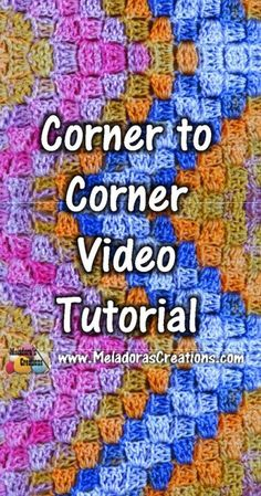 Crochet tutorial that teaches you how to do the corner to corner c2c stitch and how to decrease with the corner to corner stitch and how to change colors. http://www.meladorascreations.com/corner-to-corner-crochet-stitch-tutorial/ PIN to...