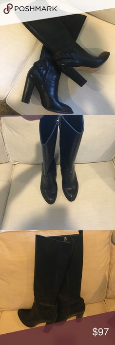 Elizabeth and James black leather boots Gorgeous black leather boots that hit below knee. Zippers on the inside. Braided leather detail above ankle. Elizabeth and James Shoes Heeled Boots