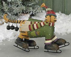 Cat on Skates Figurine – Christmas Folk Art & Holiday Collectibles – Williraye Studio $24.00