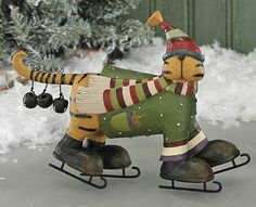 Cat on Skates Figurine – Christmas Folk Art & Holiday Collectibles – Williraye Studio $24.00