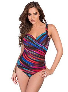 a728fa7561 Miraclesuit Women s Color Run One Piece Surplice (DD Cup) Swimsuit Multi 14