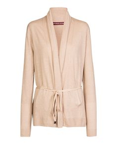 Fine belted cardigan TELY - Colour SAND