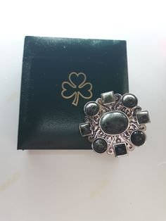 GENUINE Connemara MarbleSterling Silver Brooch Guaranteed Irish