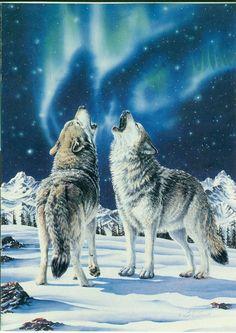 Tattoo Idea/Mountain/Northern Lights/Wolf