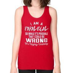 I AM A paralegal Unisex Fine Jersey Tank (on woman)