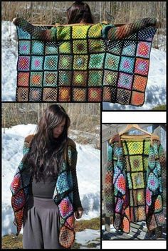 There are unique jacket, yes it's DIY Crochet Granny Square Jacket Cardigan Free Patterns Inspirations that will enhanced you styles. Crochet Bolero, Gilet Crochet, Crochet Coat, Crochet Jacket, Crochet Cardigan, Crochet Clothes, Crochet Sweaters, Diy Crochet Granny Square, Granny Square Sweater