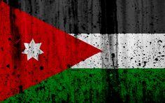 Download wallpapers Jordan flag, 4k, grunge, flag of Jordan, Asia, Jordan, national symbols, Jordan national flag