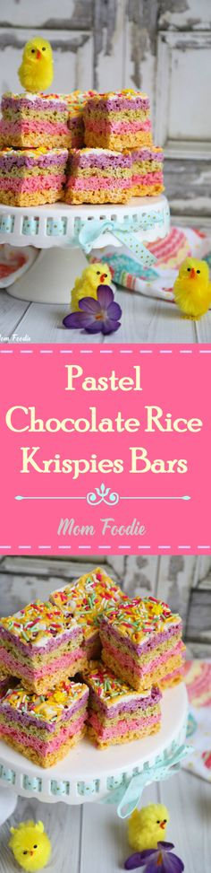 Pastel Chocolate Rice Krispies Bars (sort of a cross between a chocolate bar & a Krispies Treat... dressed for Easter) #RiceKrispies AD