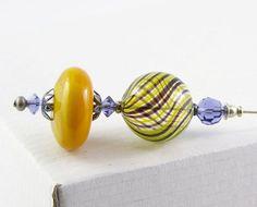 hat pin shawl pin brooch handblown glass Murano Yellow Whirl hollow