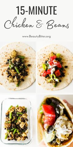 This 15-Minute chicken recipe is the perfect easy healthy dinner recipe! It's made with chicken, green beans, black beans, herbs and spices then wrapped in a tortilla with a fresh salad and a garlic yogurt sauce! Easy and quick dinner that is delicious! Clean Eating Recipes For Weight Loss, Clean Eating Recipes For Dinner, Clean Eating Meal Plan, Healthy Eating Tips, Easy Healthy Dinners, Healthy Dinner Recipes, Minute Chicken Recipe, Yummy Chicken Recipes, Healthy Garlic Chicken