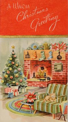 Swinging 60's Christmas with kitty.  (http://www.ebay.com/itm/1493-60s-Kitty-Cat-by-the-Hearth-Vintage-Christmas-Greeting-Card-/331094932835)