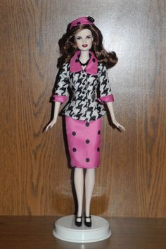 "Esme Barbie Doll wearing a suit that was custom made for me by Sylvia Bittner from the Etsy shop ""Hankie Chic."""