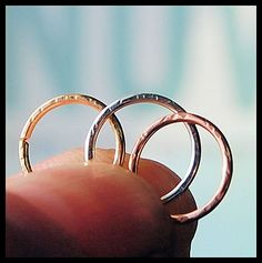 Textured nose ring - listing is for ONE (1) ring in solid 14 karat YELLOW GOLD (other metals available in another listing in the shop). Makes a