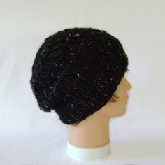Chunky Black Beanie Hat, Knitted Tweed Womens Hat Knitted Hats, Black Beanie, Beanie Hats, Hats For Women, Hand Knitting, Tweed, Crochet Earrings, Wool