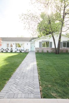 Brick paver front path laid on a herringbone pattern - as featured on Rafterhouse pilot episode on HGTV. Front Path, Front Walkway, Front Yard Landscaping, Landscaping Ideas, Ranch House Remodel, Brick Walkway, Stamped Concrete Walkway, Stone Driveway, Patio Design