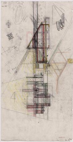 Carlo Scarpa, Studio per il castello delle campane. Pianta e fianco