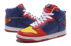 Get these Nike Superman shoes for feeling like a hero everyday. Superman Shoes, Superman Stuff, Nike Shoes, Sneakers Nike, Nike Dunks, Man Of Steel, Red Shoes, Air Jordans, Blue