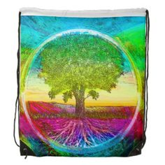 Rainbow Colored Tree of Life Backpacks by Amelia Carrie