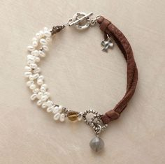 Bracelet #leather #pearl #silver #bracelet #jewelry