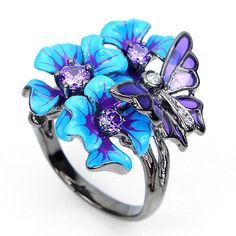RARE! NEW DESIGNED PURPLE,W CZ 925 SILVER ENAMEL BUTTERFLY,FLOWER RING HANDMADE! #Handmade #Cluster