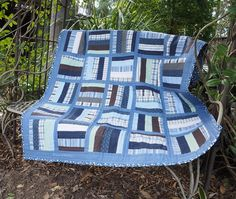 Learn how to make a quilt by repurposing pre-loved shirts. Shirt Quilt ~ Threading My Way