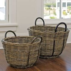 Round Kubu Nesting Baskets, Set Of 2 Willow Weaving, Basket Weaving, Round Basket, Upcycled Home Decor, Paper Weaving, Rattan Basket, Paper Basket, Basket Decoration, Fibres