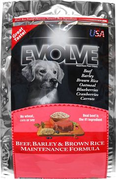 Evolve Beef, Barley & Brown Rice Maintenance Formula is a great-tasting dog food made with beef, barley, brown rice, oatmeal, blueberries, cranberries and carrots.